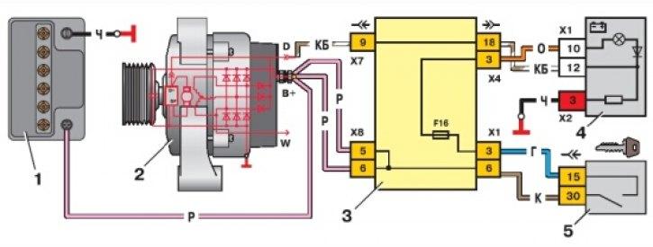 2970 - Схема возбуждения генератора ваз 2114