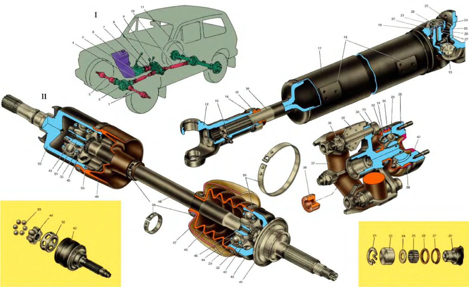 Схема карданной передачи на ваз